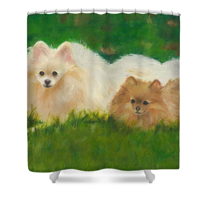 Dogs Shower Curtain featuring the painting Best Friends by Paula Emery