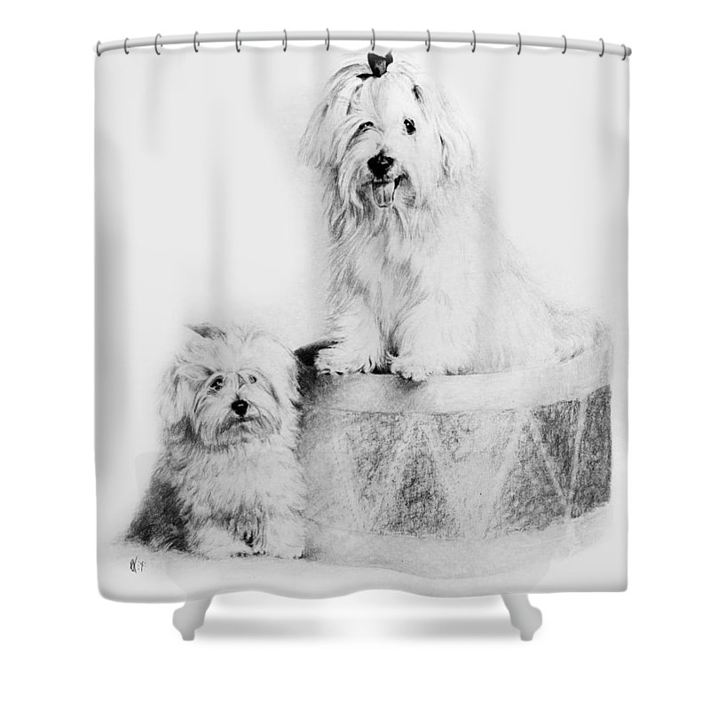 Portrait Shower Curtain featuring the drawing Best Friends by Rachel Christine Nowicki
