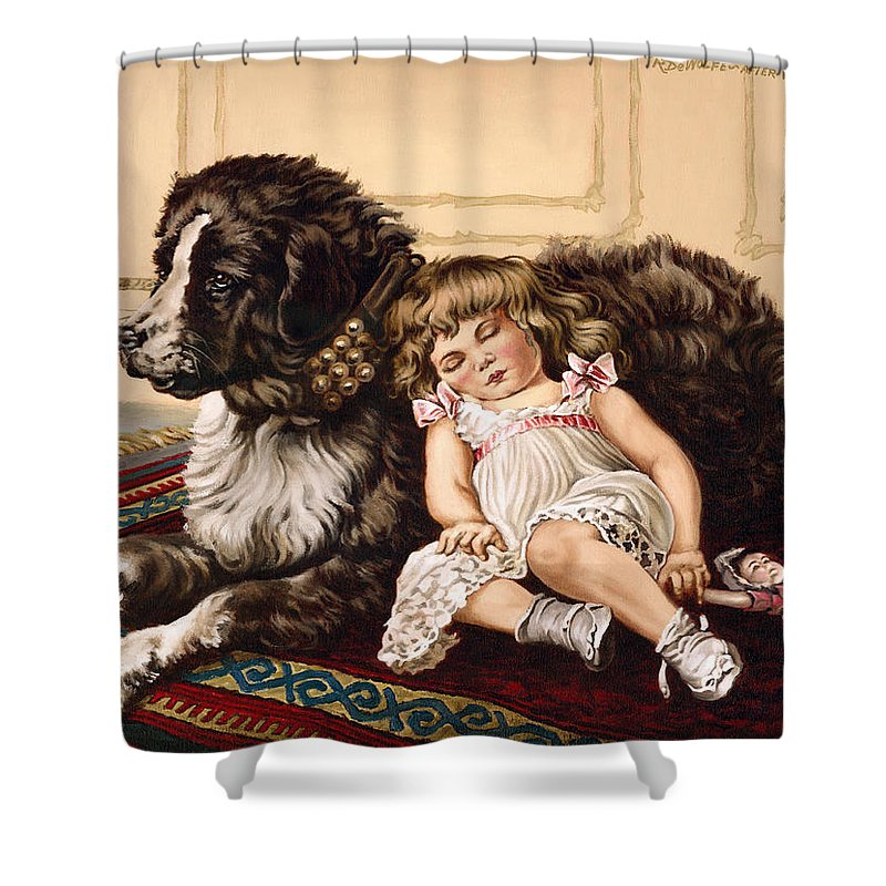 Victorian Shower Curtain featuring the painting Best Friends by Richard De Wolfe