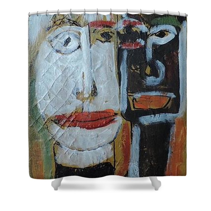Outsider Shower Curtain featuring the painting Best Pals by Nancy Denommee