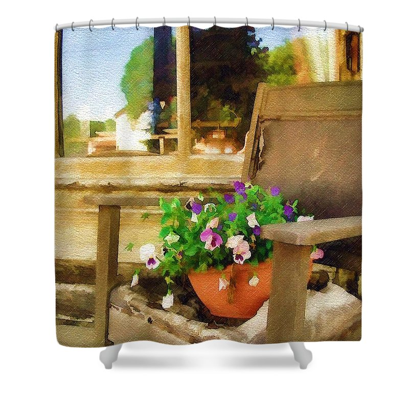 Pansies Shower Curtain featuring the photograph Best Seat in the House by Sandy MacGowan