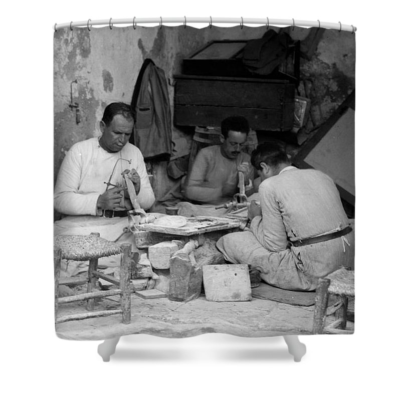 Bethlehem Shower Curtain featuring the photograph Bethlehem Mother Of Pearl Workers 1934 by Munir Alawi