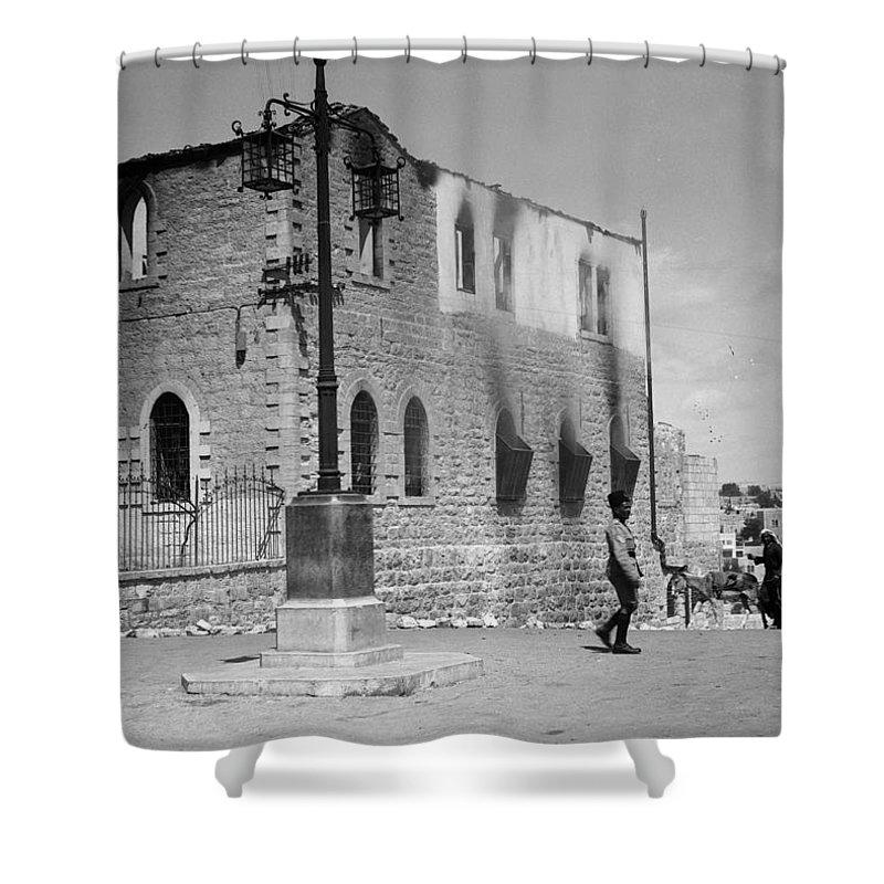 Bethlehem Shower Curtain featuring the photograph Bethlehem Police Barracks Burned Down On 1938 by Munir Alawi