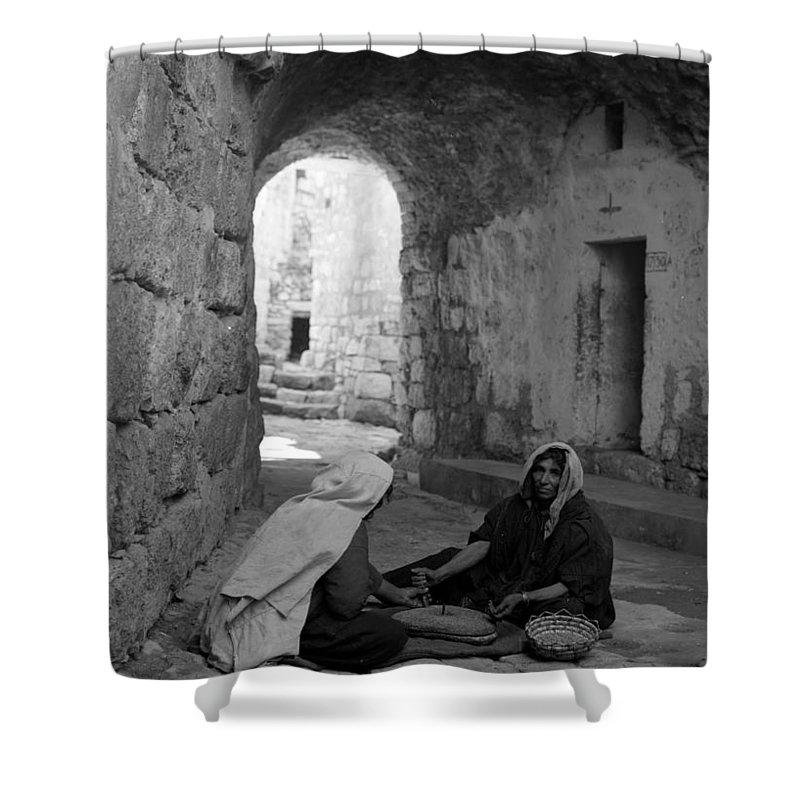 Bethlehem Shower Curtain featuring the photograph Bethlehemites Making Bread by Munir Alawi