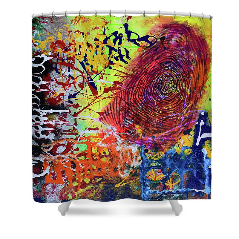 Abstract Art Shower Curtain Featuring The Painting Beti Bachao Padhao By Aatmica Ojha