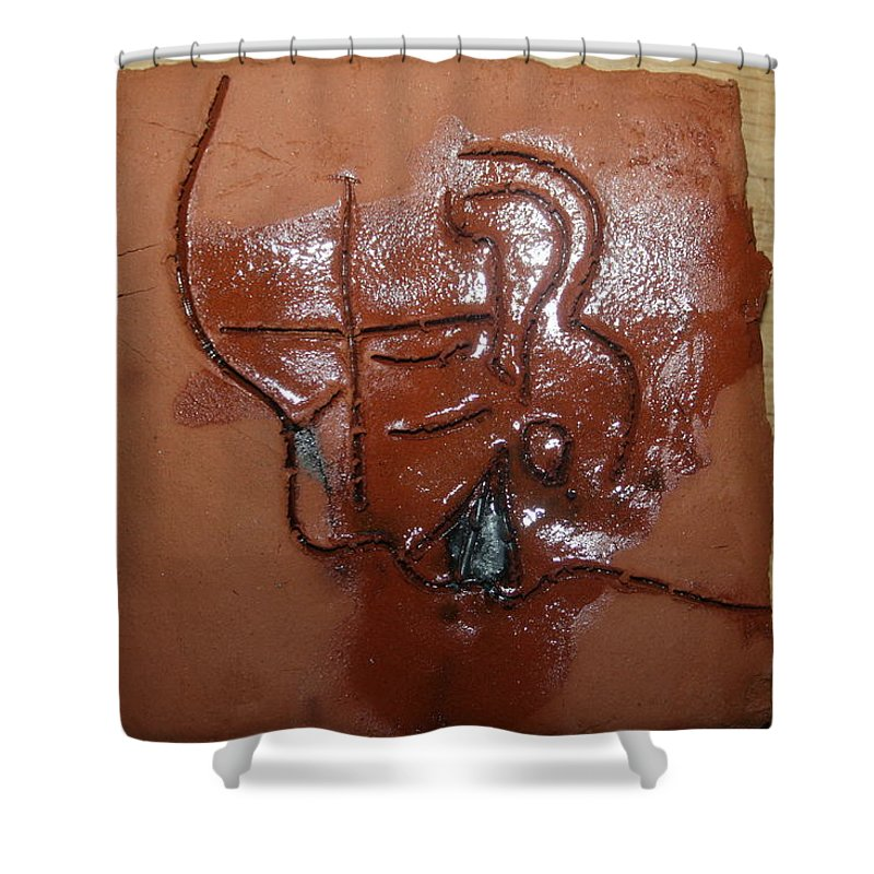Jesus Shower Curtain featuring the ceramic art Betrayal - Tile by Gloria Ssali