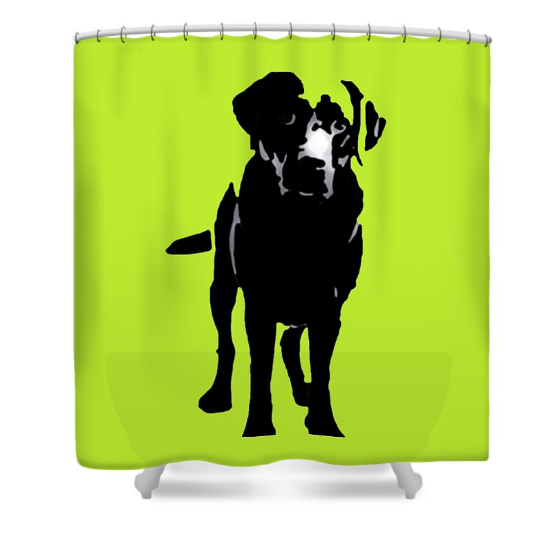 Shower Curtain featuring the photograph Better Black Lab Design by Heather Joyce Morrill