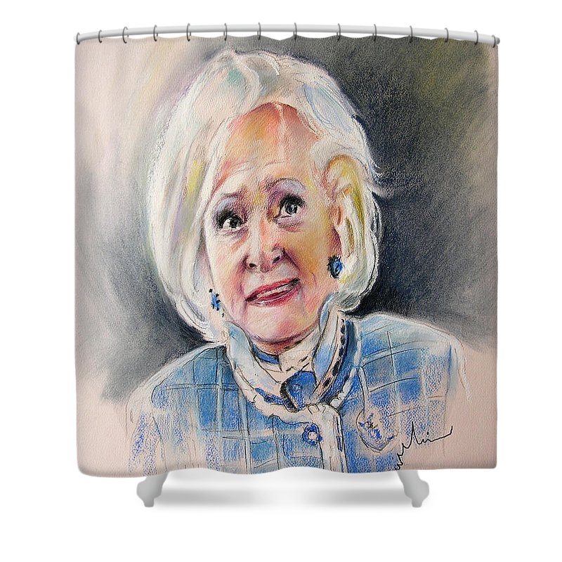 Betty White Shower Curtain featuring the painting Betty White In Boston Legal by Miki De Goodaboom