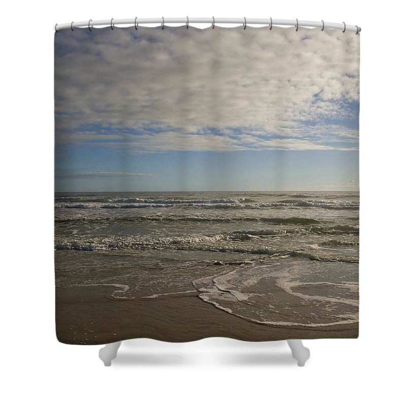 Wave Sand Ocean Beach Sky Water Wave Tide Sun Sunny Vacation Cloud Morning Early Shower Curtain featuring the photograph Between Night And Day by Andrei Shliakhau