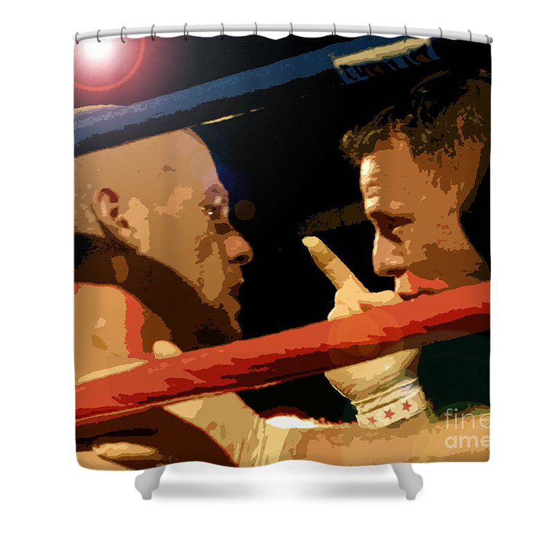 Art Shower Curtain featuring the painting Between Rounds by David Lee Thompson