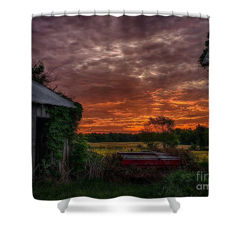 Sunrise Shower Curtain featuring the photograph Between The Building by Scott Olson