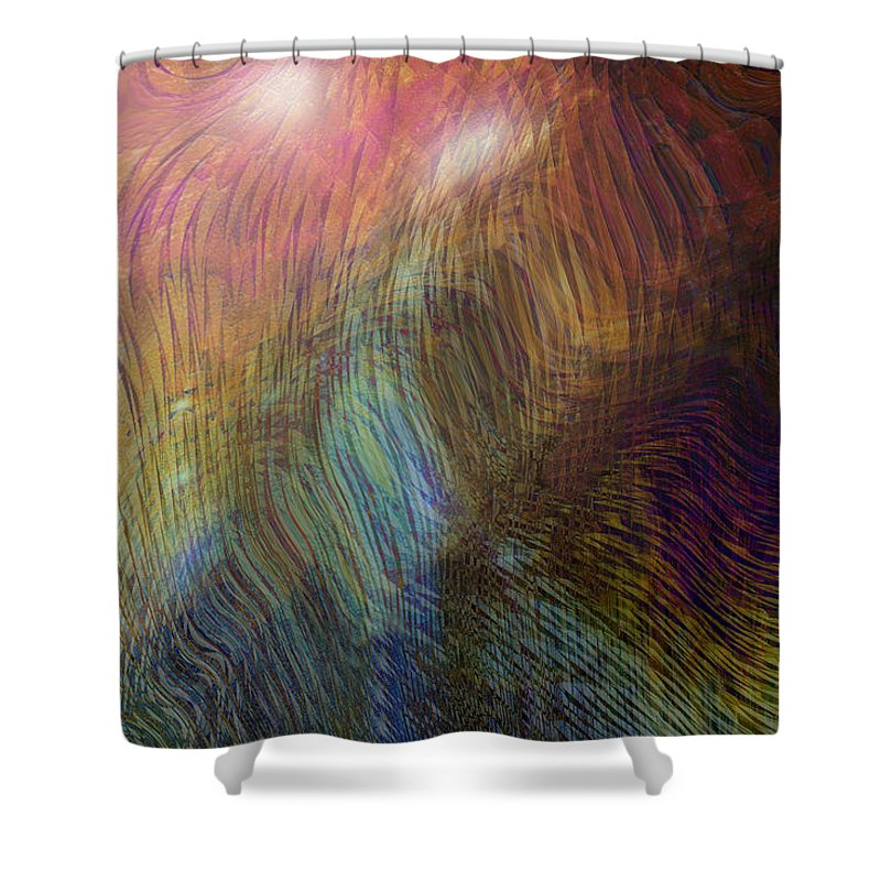 Abstract Art Shower Curtain featuring the digital art Between The Lines by Linda Sannuti