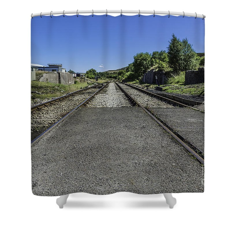 Pontypool And Blaenavon Railway. Pontypool. Blaenavon Shower Curtain featuring the photograph Between The Lines by Steve Purnell