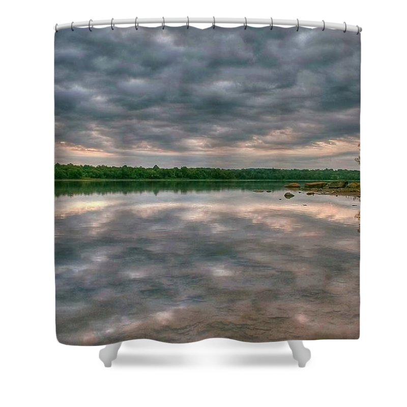 Landscape Shower Curtain featuring the photograph Between Two Mental Waves by Mitch Cat