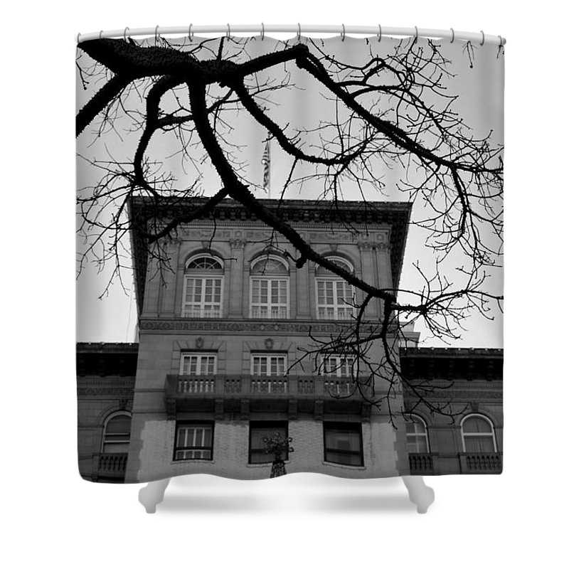 City Shower Curtain featuring the photograph Beverly Wilshire Hotel - Beverly Hills - Black And White by Matt Harang