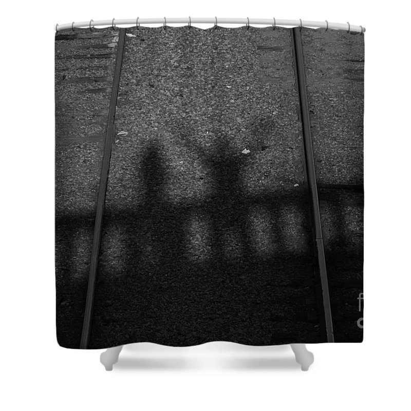 Shadow Shower Curtain featuring the photograph Beware Of The Shadows Black And White by Karol Livote