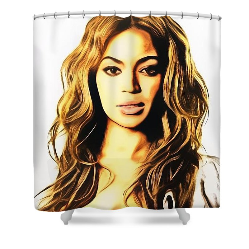 Beyonce Shower Curtain Featuring The Painting By Ez Art