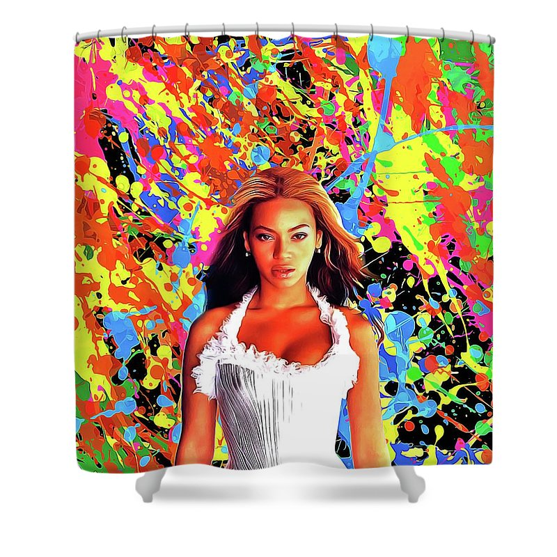 Oil Paint Art Shower Curtain Featuring The Painting Beyonce Knowles