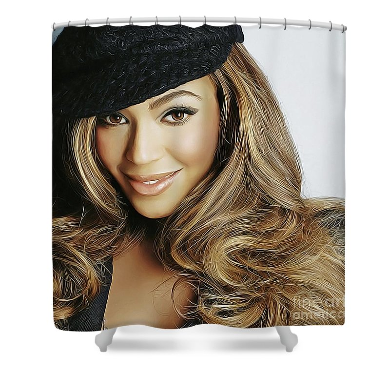 Beyonce Knowles Shower Curtain Featuring The Painting By Twinkle Mehta