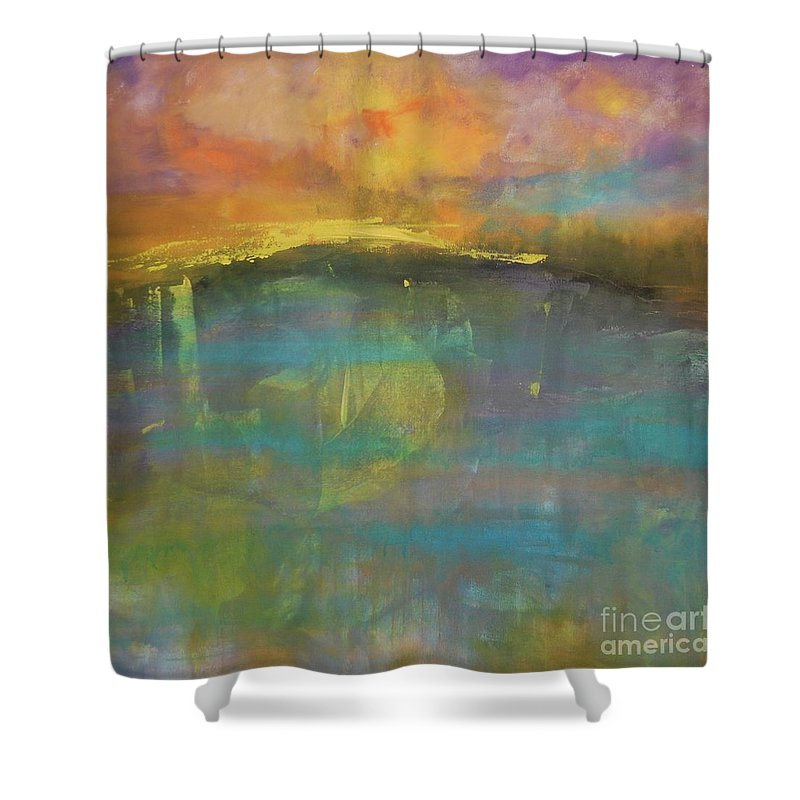 Abstract Art Shower Curtain featuring the painting Beyond 1 by Terri Davis