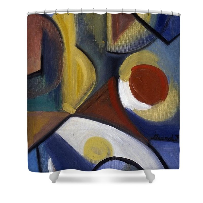 Abstract Shower Curtain featuring the painting Beyond Blue by Jodye Beard-Brown