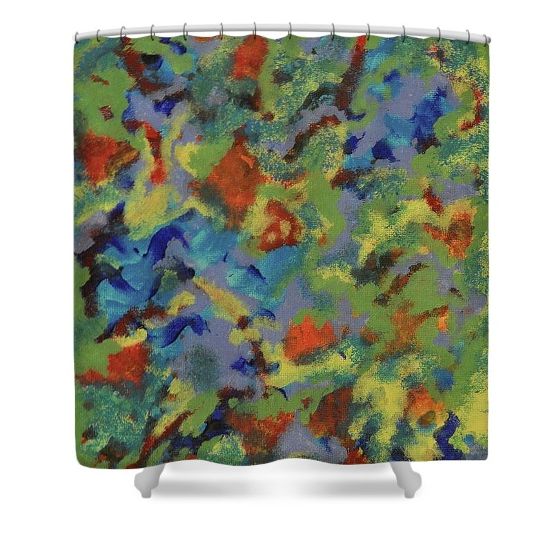 Green Shower Curtain featuring the painting Beyond Closed Eyes by Colleen Gerlach