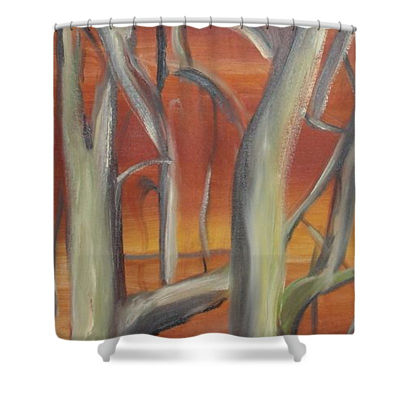 Trees Forest Original Painting Abstract Shower Curtain featuring the painting Beyond by Leila Atkinson