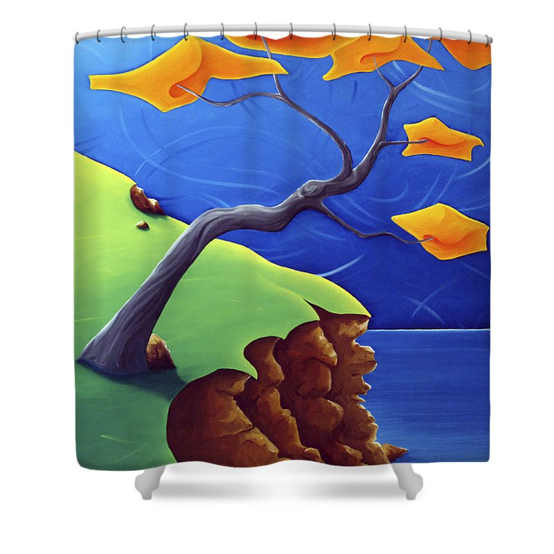Landscape Shower Curtain featuring the painting Beyond Limitations by Richard Hoedl