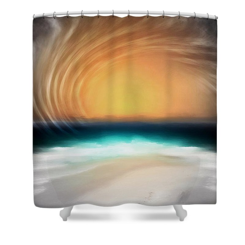 Abstract Shower Curtain featuring the digital art Beyond The Blue Horizon - Series 20 by Don DePaola