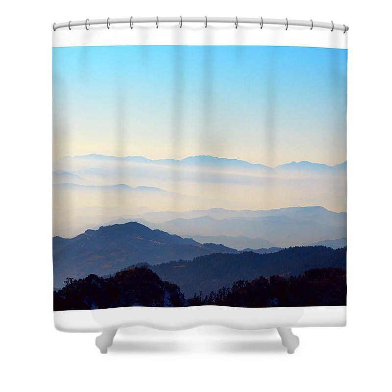 Landscape Shower Curtain featuring the photograph Beyond The Clouds by Rochak Timilsina