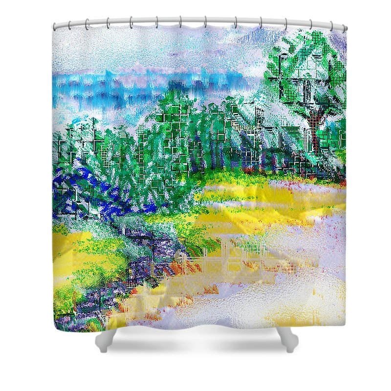 Beyond The Clouds Shower Curtain featuring the drawing Beyond The Clouds by Seth Weaver