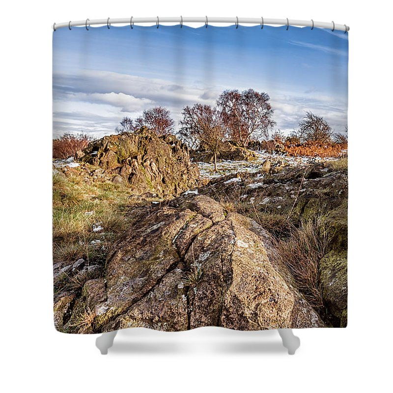 Bomb Rocks Shower Curtain featuring the photograph Beyond The Rocks by Nick Bywater