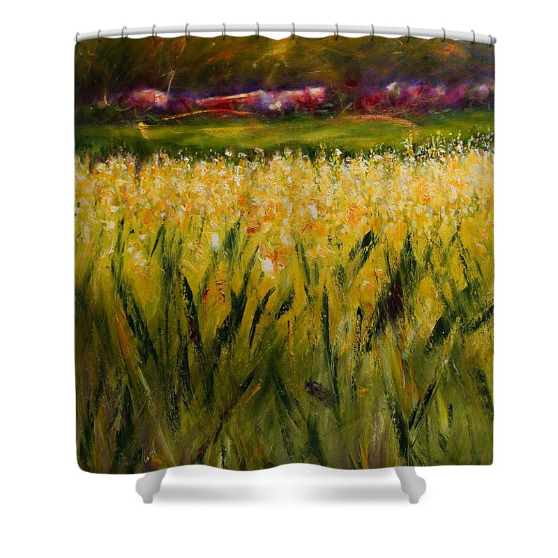 Landscape Shower Curtain featuring the painting Beyond The Valley by Shannon Grissom