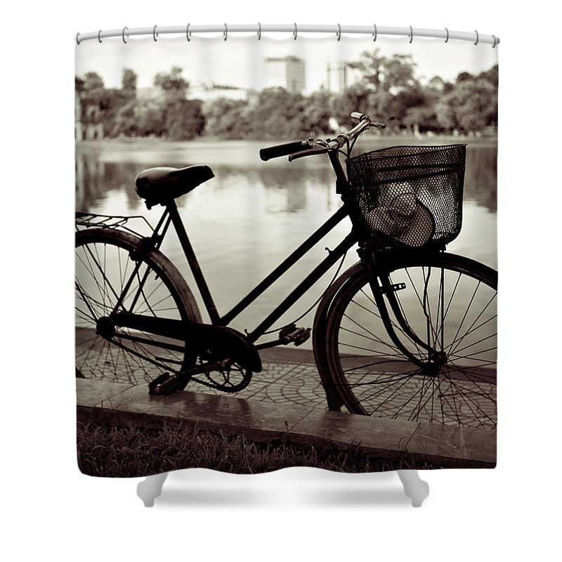 Bicycle Shower Curtain featuring the photograph Bicycle By The Lake by Dave Bowman