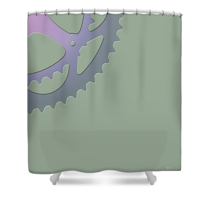 'two-wheel Drive' Collection By Serge Averbukh Shower Curtain featuring the digital art Bicycle Chain Ring On Van Alen Green - 4 Of 4 by Serge Averbukh