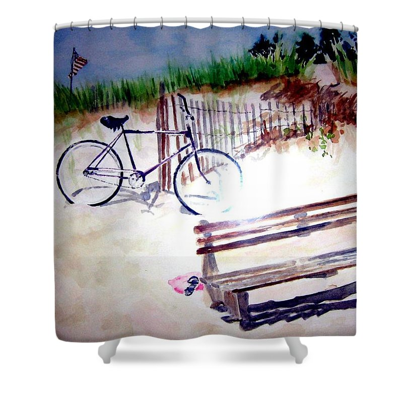 Bicycle Shower Curtain featuring the painting Bicycle On The Beach by Sandy Ryan