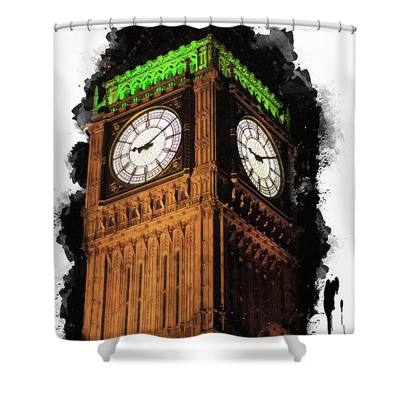 Anna Maloverjan Shower Curtain featuring the mixed media Big Ben In London by Anna Maloverjan