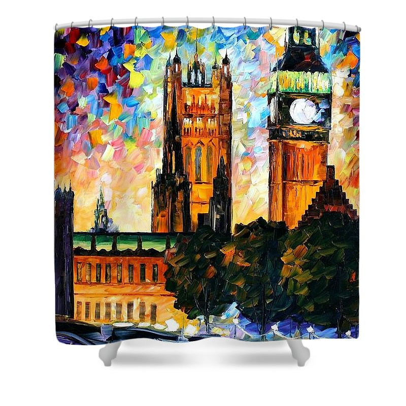Afremov Shower Curtain featuring the painting Big Ben by Leonid Afremov