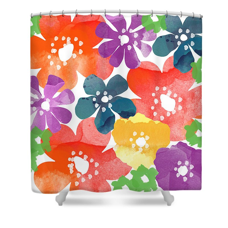Flowers Shower Curtain featuring the painting Big Bright Flowers by Linda Woods