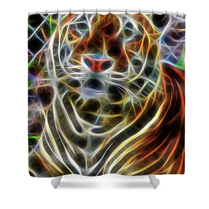 Big Cats Shower Curtain featuring the digital art Big Cats by Sheila Lubeski