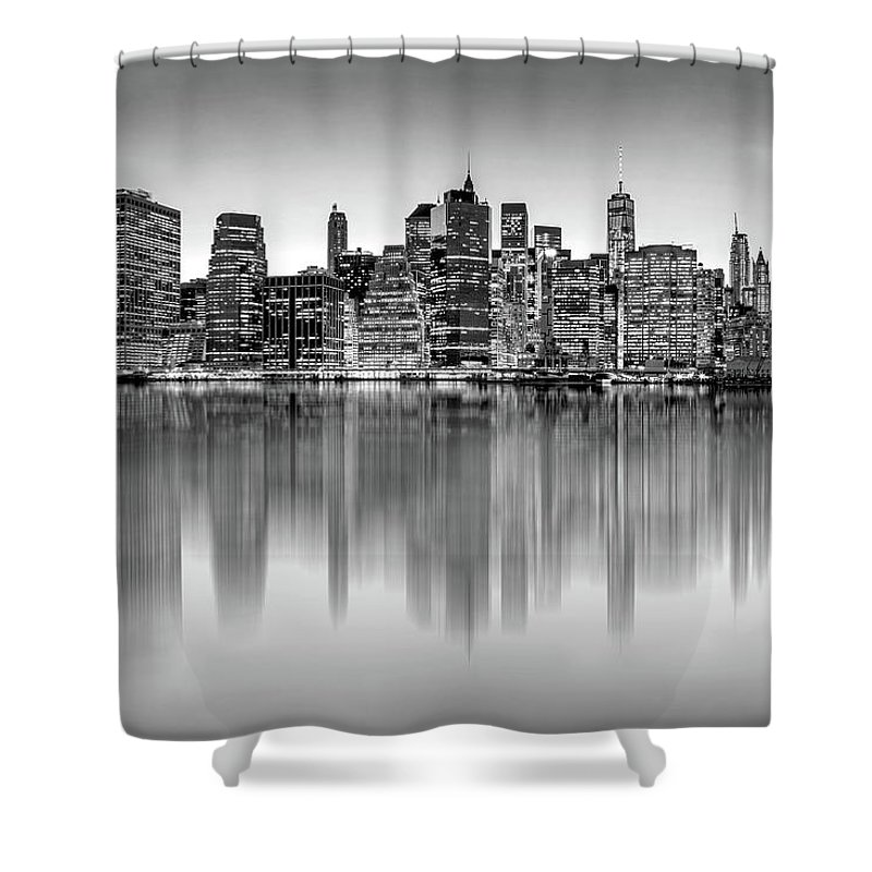One World Trade Center Shower Curtain featuring the photograph Big City Reflections by Az Jackson