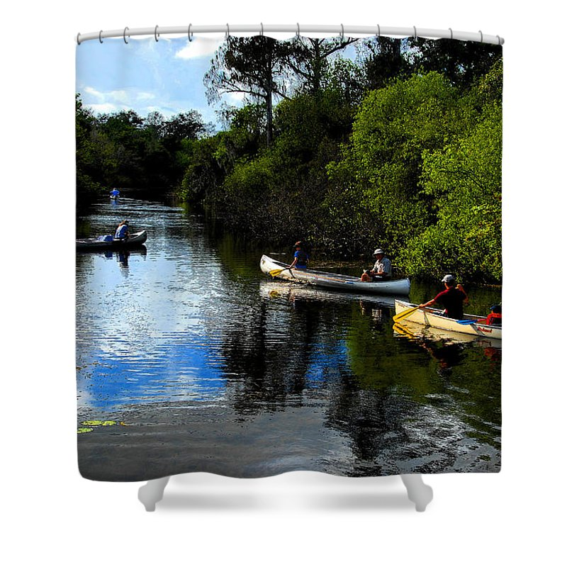 Big Cypress National Preserve Florida Shower Curtain featuring the painting Big Cypress Outing by David Lee Thompson