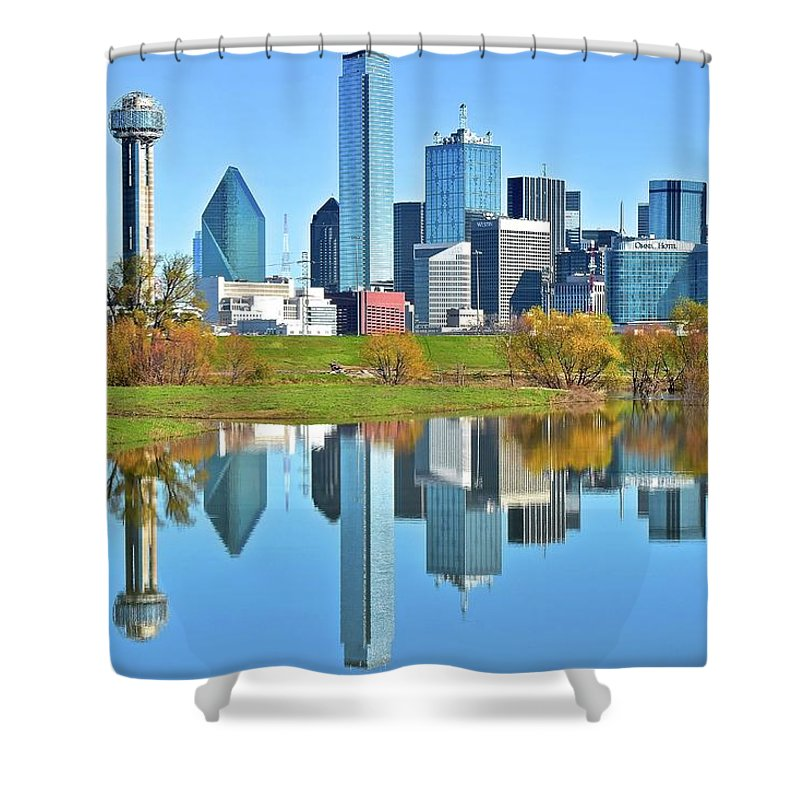 Dallas Shower Curtain featuring the photograph Big D Reflection by Frozen in Time Fine Art Photography