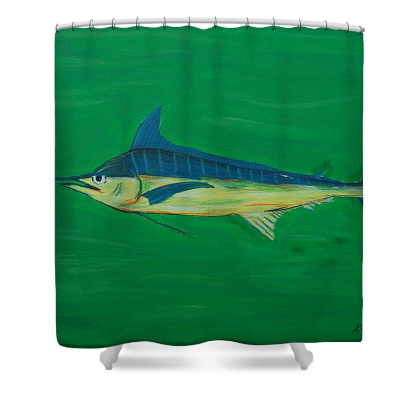 Blue Marlin Shower Curtain featuring the painting Big Fish by Angela Miles Varnado