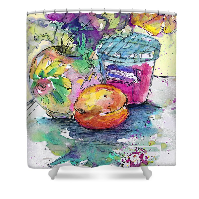 Still Life Shower Curtain featuring the painting Big Marmalade by Miki De Goodaboom