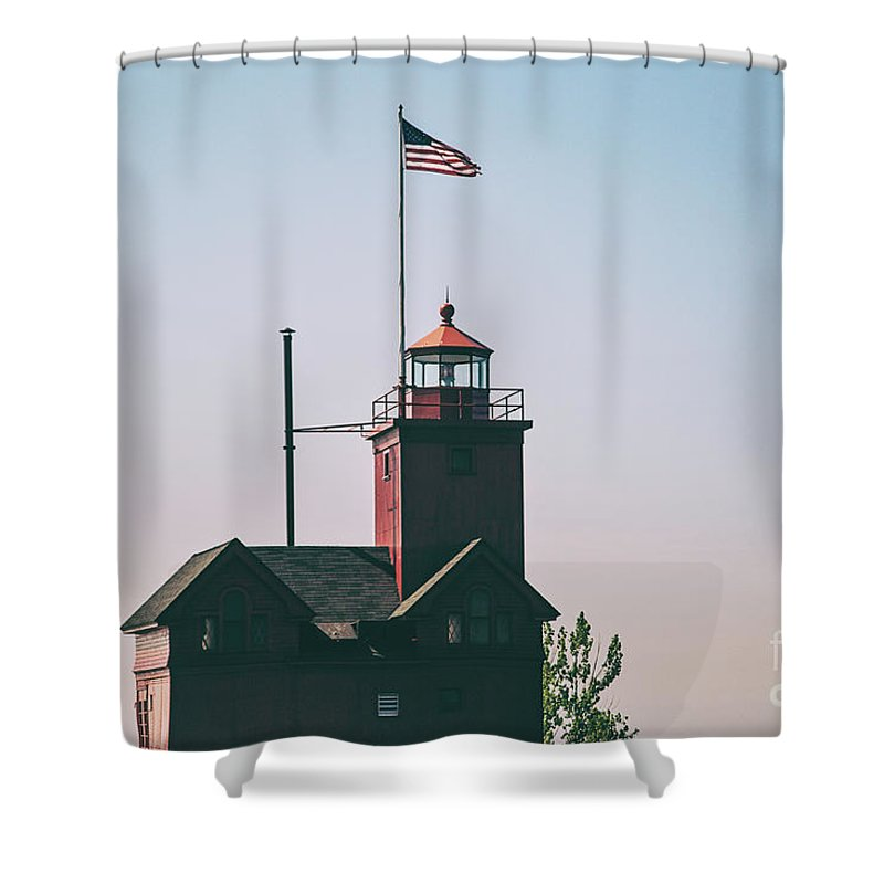Lighthouse Shower Curtain featuring the photograph Big Red Lighthouse by Scott Pellegrin