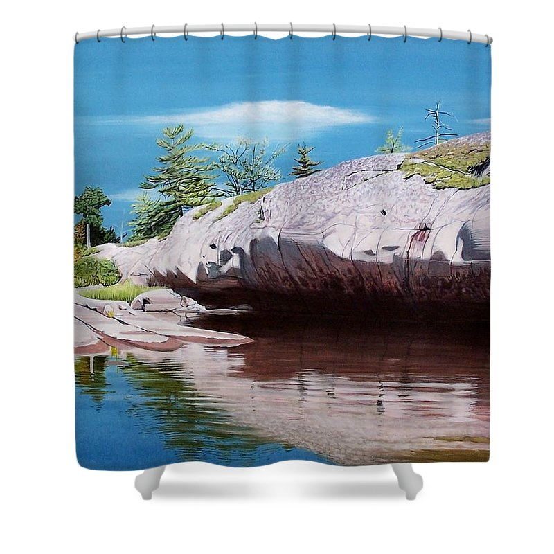 Landscape Shower Curtain featuring the painting Big River Rock by Kenneth M Kirsch