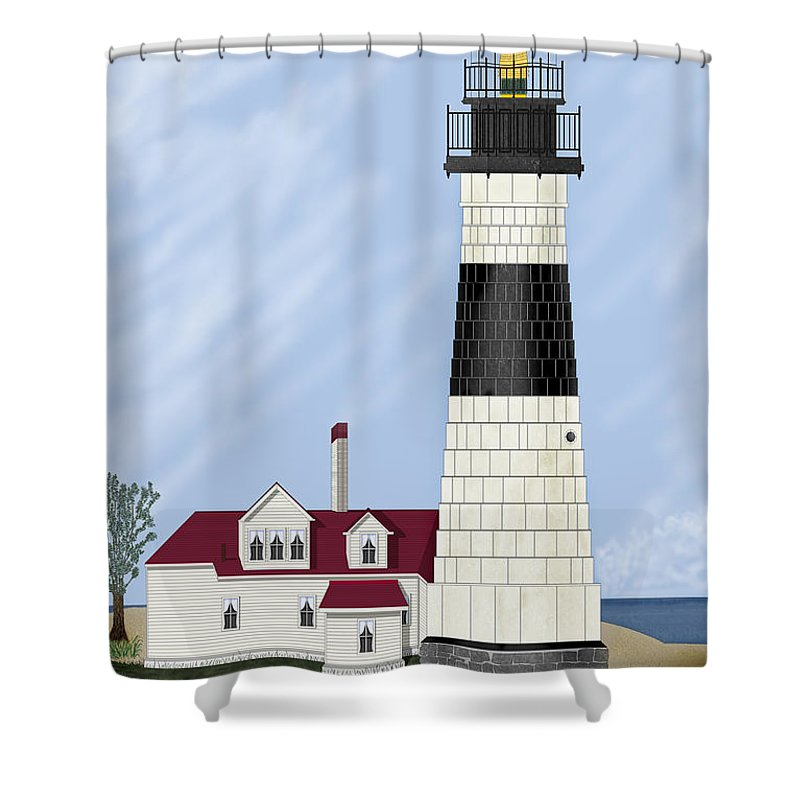 Big Sable Michigan Lighthouse Shower Curtain featuring the painting Big Sable Michigan by Anne Norskog