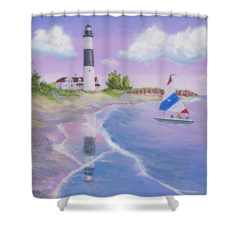 Lighthouse Painting Shower Curtain featuring the painting Big Sable Point Lighthouse by Jerry McElroy