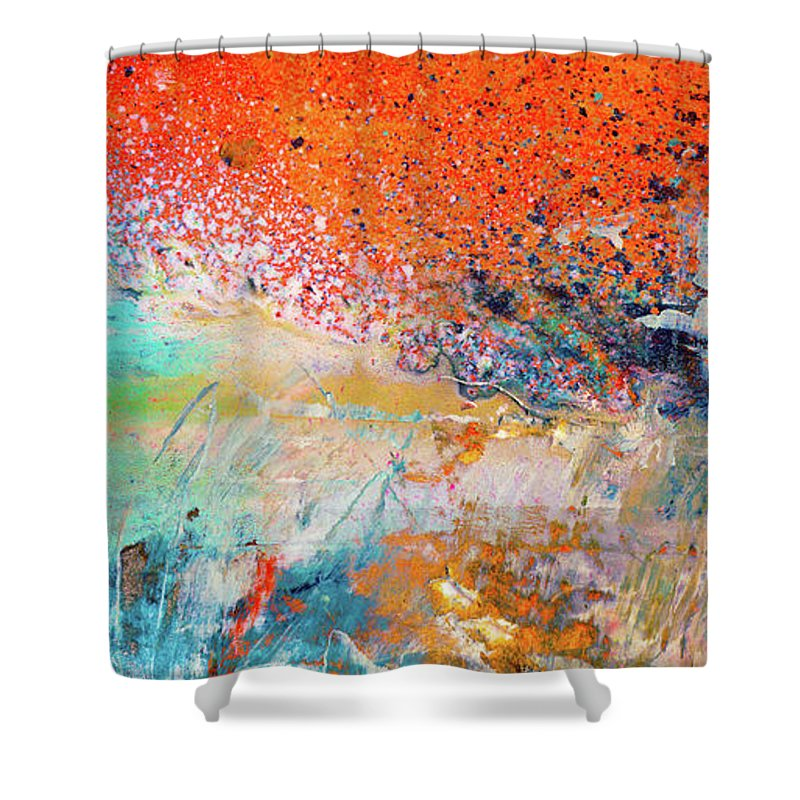 Big Shot Orange And Blue Colorful Happy Abstract Art Painting Shower Curtain
